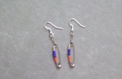 Boucles d'oreilles épingles -  orange, or et bleu cobalt