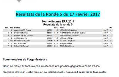 Tournoi Interne ERR : Ronde 6