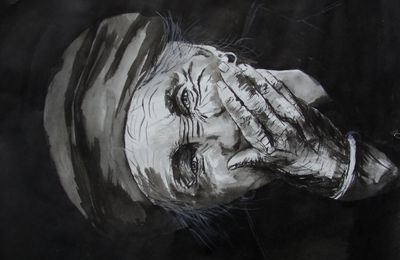 dessin encre : portrait vieille dame
