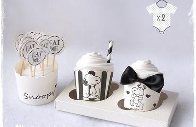 Cadeau de naissance original snoopy cupcakes
