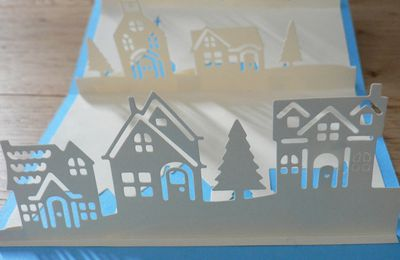 carte pop up bonjour de ma ville et flocons virevoltants de stampin'up