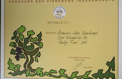 Médaille d'Or au Concours des Vignerons Indépendants 2016