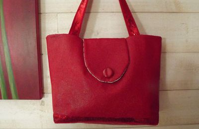Sac en skaï rouge/paillettes rouges
