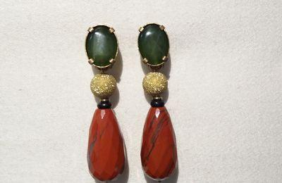 Boucles d'oreilles clip en pierres naturelles. Bijou de créateur Paris.