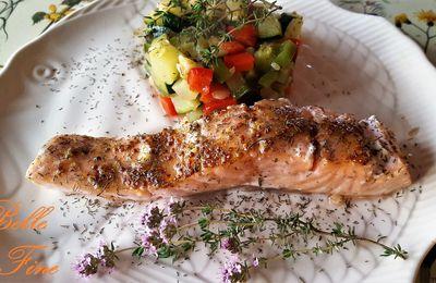 Pavés de saumon au chèvre, miel et moutarde à l'ancienne