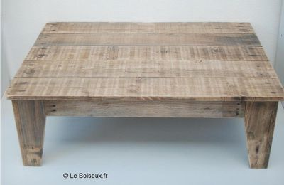 Table basse palette tiroirs grillag s plateaux de for Table salon en palette