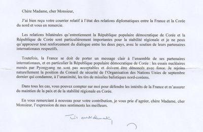 Bruno Le Maire répond à l'Association d'amitié franco-coréenne