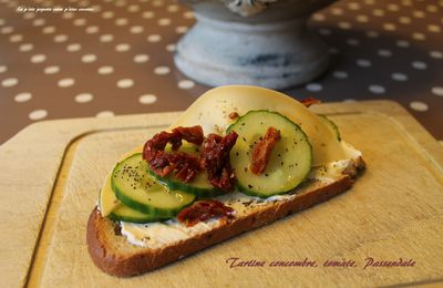 Tartine gourmande concombre, tomate, fromage Passendale