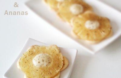 mini tartelettes feuilletées Ananas,chèvre  et Thym citron