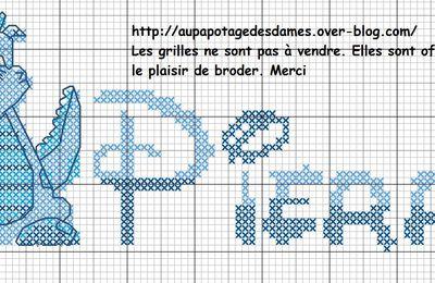 Grilles Bavoirs Dragon_ Prénom: Pierre et Victor