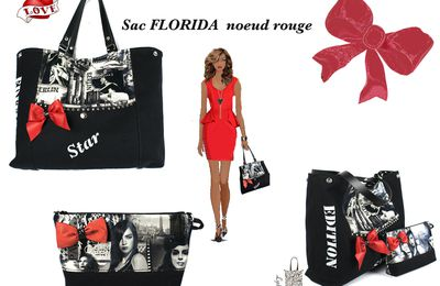 "SAC CABAS ""FLORIDA"" noeud rouge"""