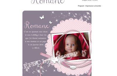 Le faire part de naissance de la petite Romane ...