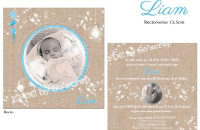 Le faire part de naissance du petit Liam : thème bulles