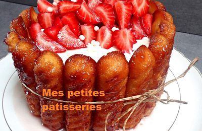 Charlotte aux fraises/chantilly/madeleines
