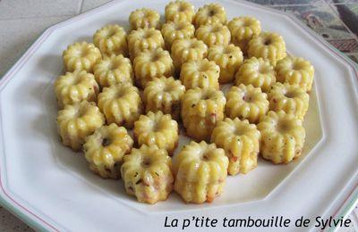 Mini-cannelés tomates séchées, jambon, basilic
