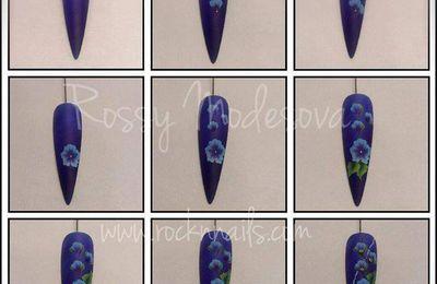 tutoriel, nail art fleurs, pas à pas, #onestroke