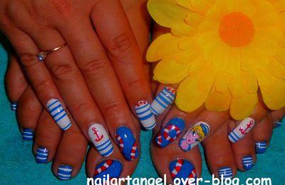nail art été, nail art pied, nail art marin pour les pieds, nail art mer, nailartangel