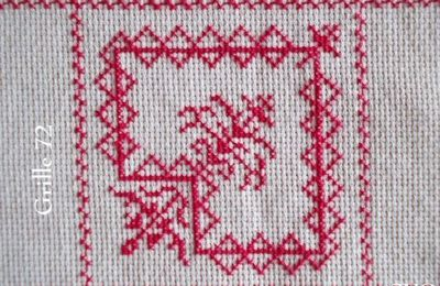 SAL : Plaid Broderie Rouge... Grille 72 / K11