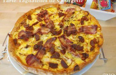 Tarte aux tagliatelles de Courgette, Curcuma, Chorizo et Lard fumé
