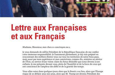BENOIT HAMON - Lettre aux Françaises et aux Français - VOTEZ POUR