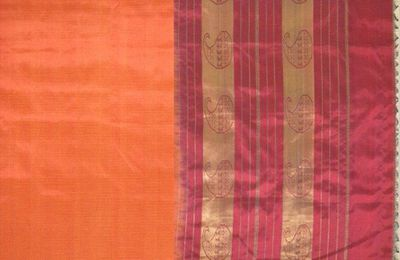 Deep Orange Silk Cotton Saree