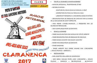 A vos agendas : 2ème fête des Clairanenca aux moulins le 1 juillet 2017