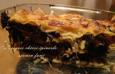 Lasagnes chèvre-épinards-saumon fumé