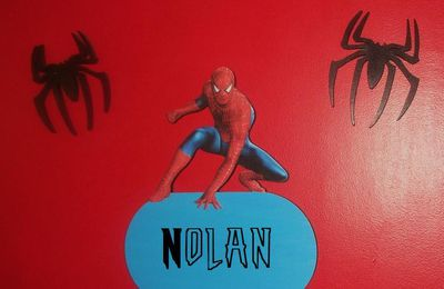 Plaque de porte en bois spiderman