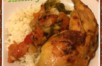 poulet aux épices poivrons, oignons cuisson au four