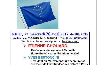 """Deux conférences importantes à Nice. """"L'avenir de l'Union Européenne et de l'euro"""" le mercredi 26 avril. """"Faut-il sortir de l'OTAN"""" le vendredi 28 avril."""