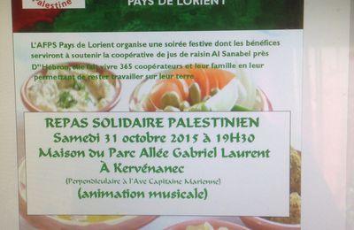 Repas solidaire palestinien le 31 octobre prochain......