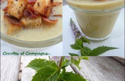 Soupe froide de courgettes à la Menthe, Croutons et Jambon de Pays
