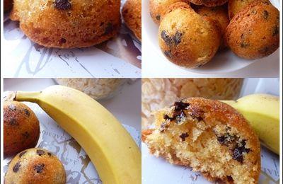 """Cakes """"Sphères"""" Banane, Pépites de Chocolat"""