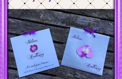 Faire part de mariage pochette orchidée