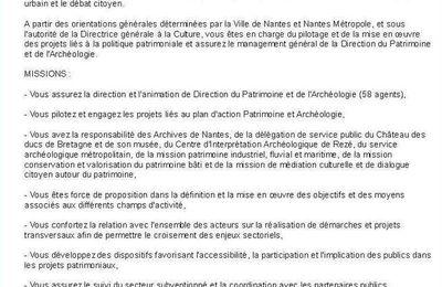 Nantes Métropole recherche son directeur du patrimoine et de l'archéologie
