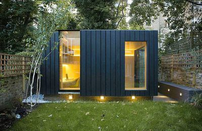 Enigmatic cedar-clad garden office doubles as yoga studio & playroom