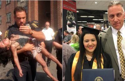 Conmovedor: Un policía acude a la graduación de la niña que salvó hace 18 años