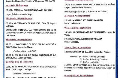 CABEZUELA FIESTAS DE SEPTIEMBRE 2017 (SEMANA CULTURAL)