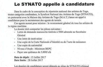 Togo: le SYNATO appelle à candidature