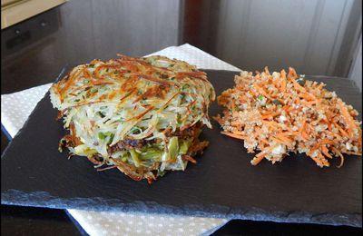 Burger de pommes de terre et son steack végétal