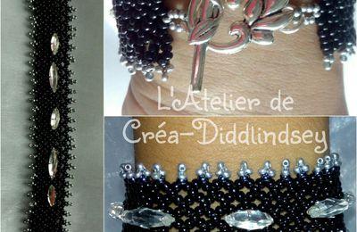 Bracelet tissage netting noir et argenté pour ma petite sœur