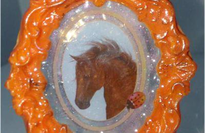 Mon porte-clés pendentif bijoux de sac tête de cheval porcelaine froide et résine
