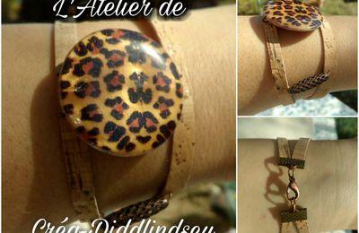 Bracelet léopard en cuir végétal de Liège
