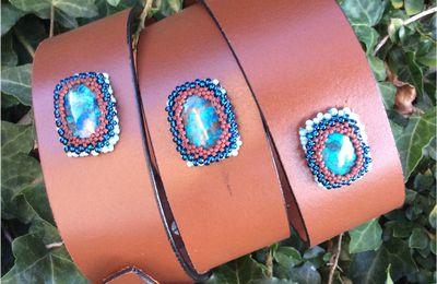 """Ma dernière ceinture en cuir avec pierre sertie de perles """"Chrysoprase"""""""