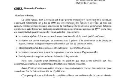 Nouvelle lettre de la fédération de la libre pensée des Alpes-Maritimes au préfet.