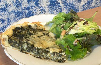 Tarte legere aux épinards et fromage ail et fines herbes