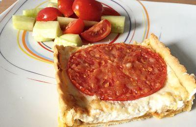Tarte rectangulaire tomate, pesto et ricotta