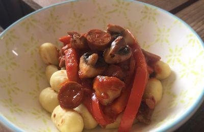 Gnocchis sauce poivrons,champignons et chorizo