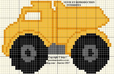 Grille gratuite point de croix : Petit camion de chantier 1