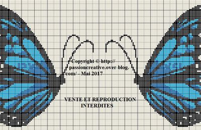 Grille gratuite point de croix : Papillon bleuté